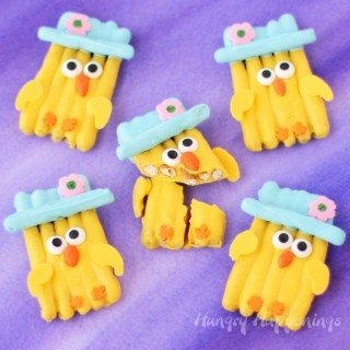 White Chocolate Pretzel Easter Chicks