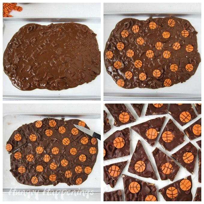 How to make chocolate bark filled with peanuts, pretzels, and Pringles potato chips topped with Orange basketball candy melts. See the tutorial at HungryHappenings.com.