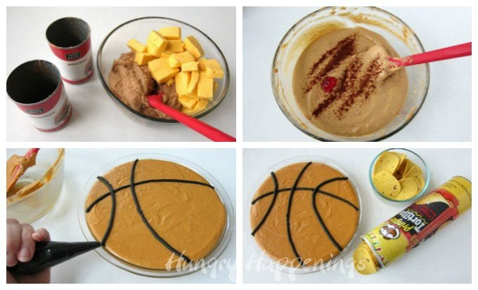 Basketball Bean Dip - turn a simple cheesy bean dip into a basketball.