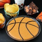 Basketball Bean Dip - A simple 3 ingredient dip can be created and served at your March Madness parties.