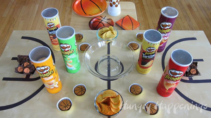 How to decorate a table for a basketball themed party.