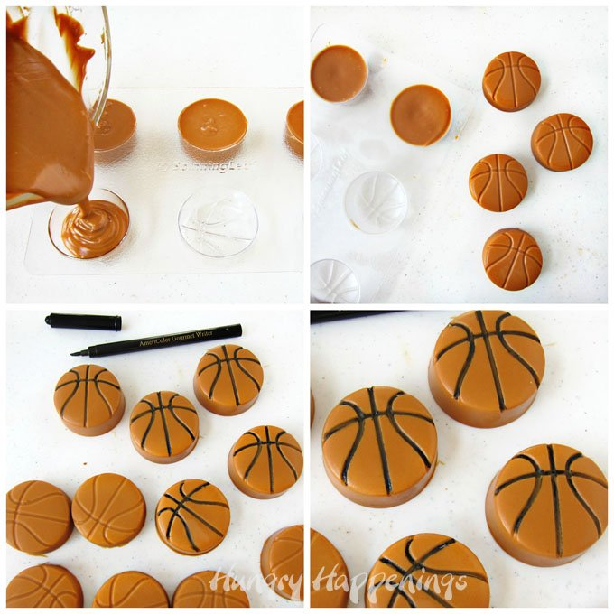 Turn Biscoff Butterscotch fudge into basketballs using a candy mold.