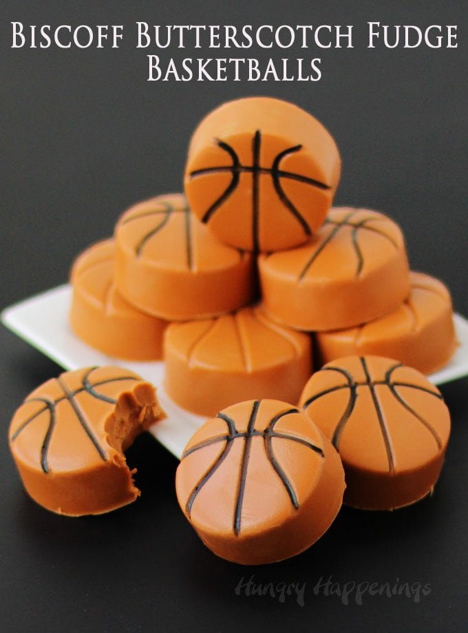 Blend together Biscoff spread and butterscotch chips to make rich and creamy fudge that can be shaped into basketballs for your March Madness parties.
