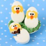 Add some of these adorably cute handmade Chocolate Caramel Fudge filled Hatching Chicks to your baskets. Your kids will love them. See how to make them at HungryHappenings.com.