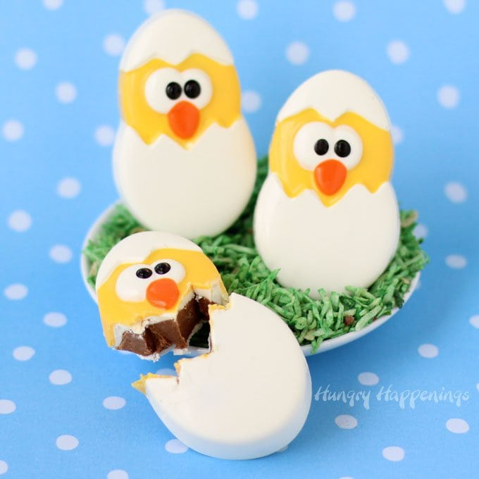 Add some super cute Chocolate Caramel Fudge filled Hatching Chicks to your Easter baskets this year. Your kids will love these homemade white chocolate Easter chicks, each filled with creamy caramel flavored milk chocolate fudge.