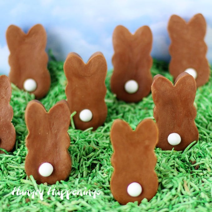 2 Ingredient Chocolate Caramel Fudge Easter Bunnies with white candy tails are quick and easy to make to fill your Easter baskets.