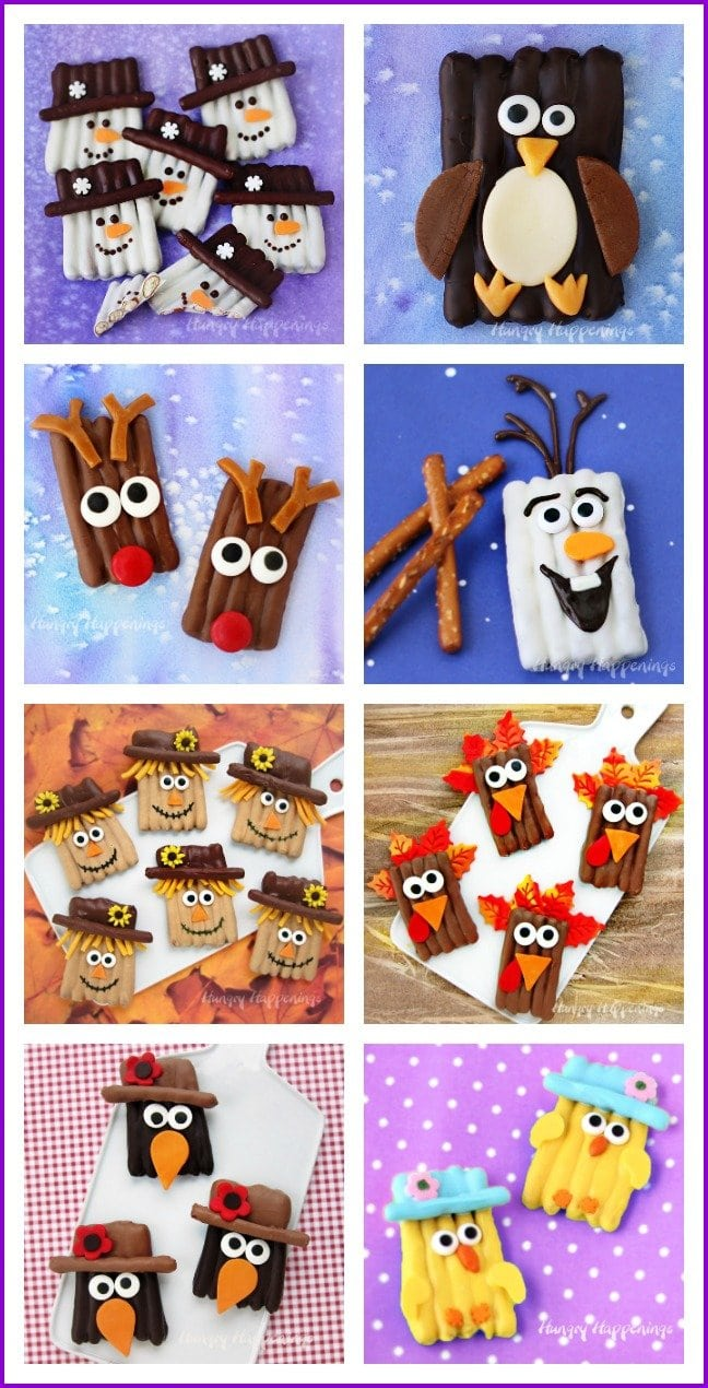Turn chocolate pretzels into fun holiday treats. Make snowmen, penguins, reindeer, scarecrows, turkeys, crows, and chicks. See the tutorials at HungryHappenings.com.