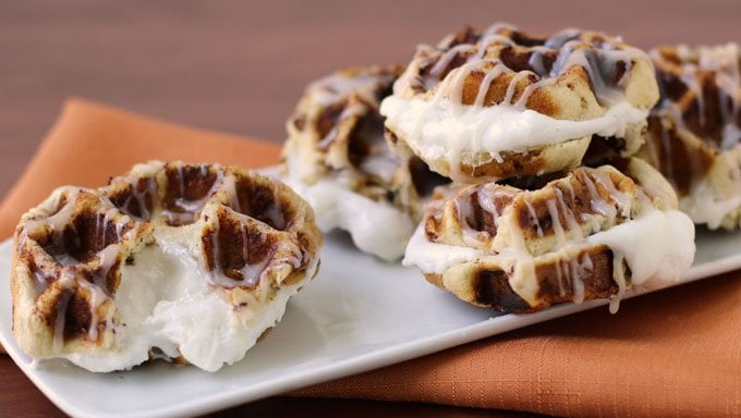 Cinnamon Roll Waffles filled with ooey gooey melted marshmallows make a decadent afternoon treat.