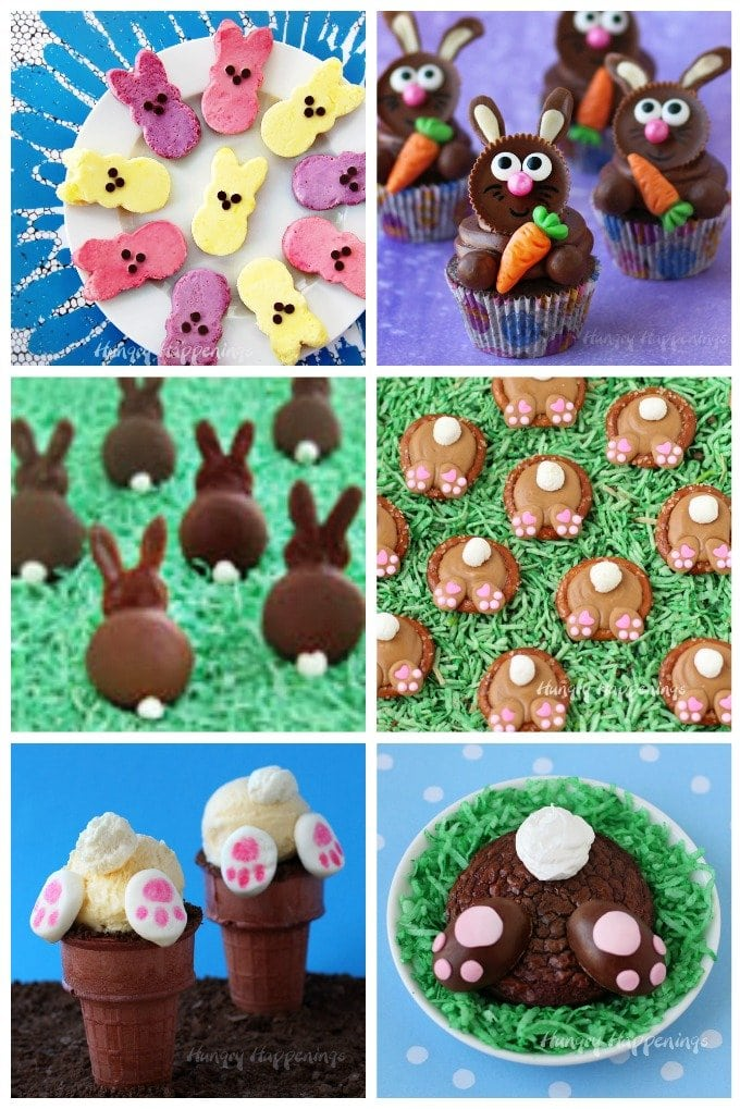 This Easter make some adorably cute Easter Bunny Treats. See recipes to make cheesecakes, cupcakes, cookies, and more at HungryHappenings.com.