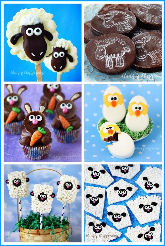 Cute Easter Treats - Nutter Butter Lambs, Stamped Sheep Cookies, Bunny Cupcakes, Chocolate Chicks, and more. See the tutorials at HungryHappenings.com.