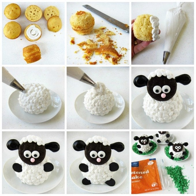 How to make the cutest Fluffy Sheep Cupcakes for Easter or a farm themed party.