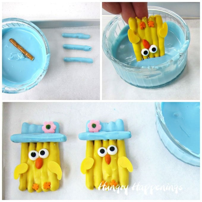 How to make White Chocolate Easter Chick Pretzels topped with cute little blue bonnets.