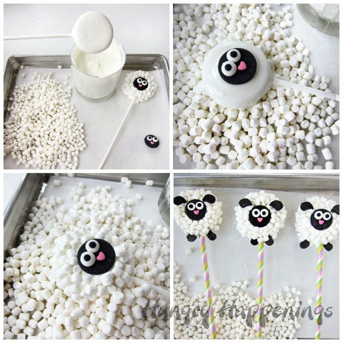 Dip Oreo Cookies into white chocolate, toss on lots of mini marshmallows, then decorate to look like a lamb. See how to make these Oreo Lamb Lollipops at HungryHappenings.com.