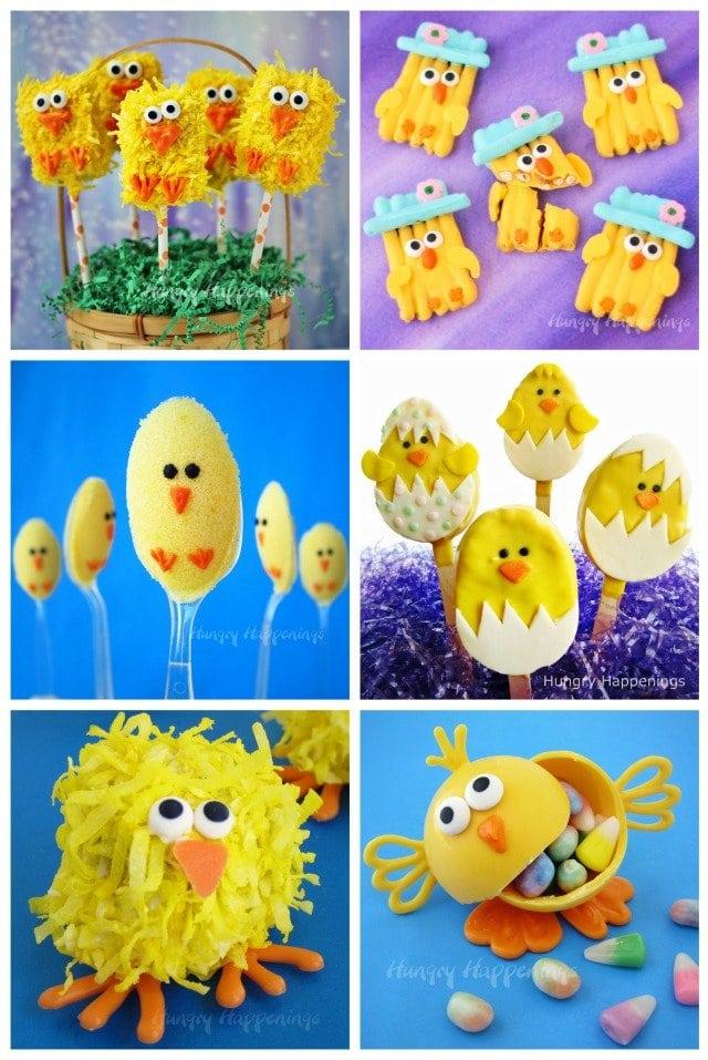 Fill your Easter baskets with some adorably cute Easter Chick treats. Make rice krispie treat chicks, pretzel chicks, and more. See the recipes at HungryHappenings.com.