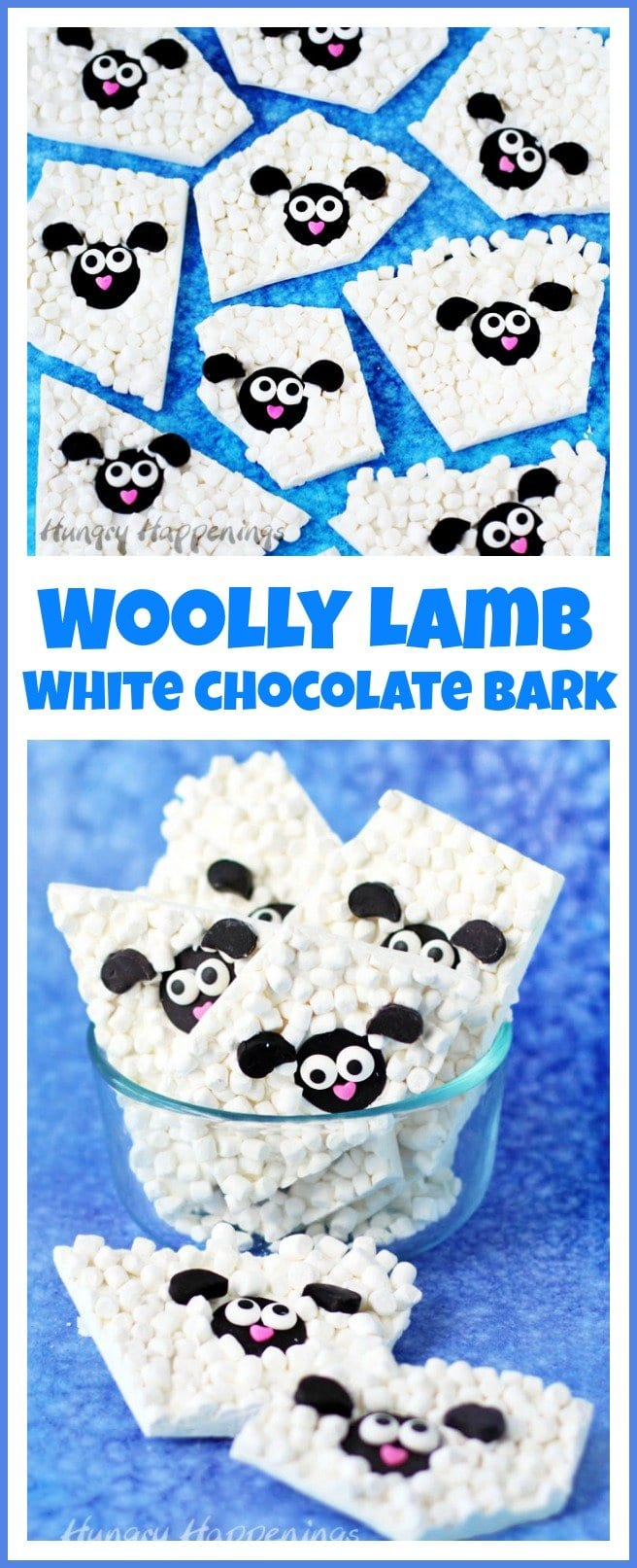 Here's an easy Easter treat to make for your baskets. Woolly Lamb White Chocolate Bark can be made in less than 20 minutes and it's so cute.