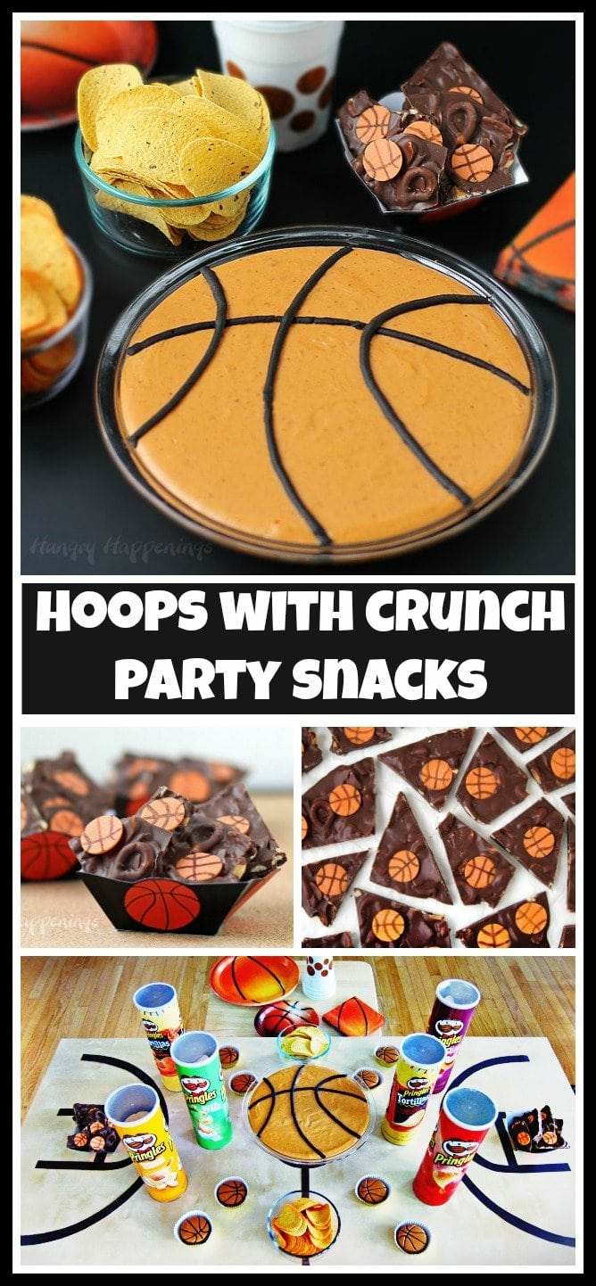 Hoops with Crunch party snacks. Cheer on your favorite college team during March Madness while munching on Basketball Bean Dip served with Pringles Tortillas and Chocolate Basketball Bark made with Pringles Original.