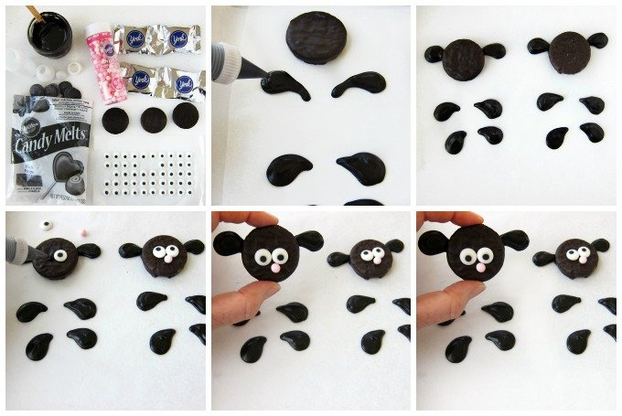 Make chocolate sheep using Peppermint Patties and black candy melts then use them to top Fluffy Sheep Cupcakes.