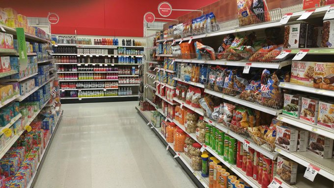 Snack aisle at Target. Pringles.