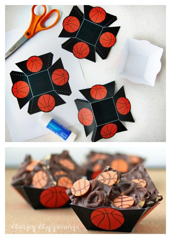 Make a printable basketball basket to hold chocolate basketball bark for your March Madness parties.