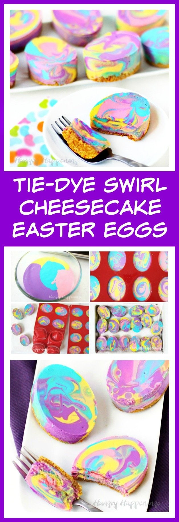 Colorful Tie-Dye Cheesecake Easter Eggs will brighten up your dessert table this holiday.