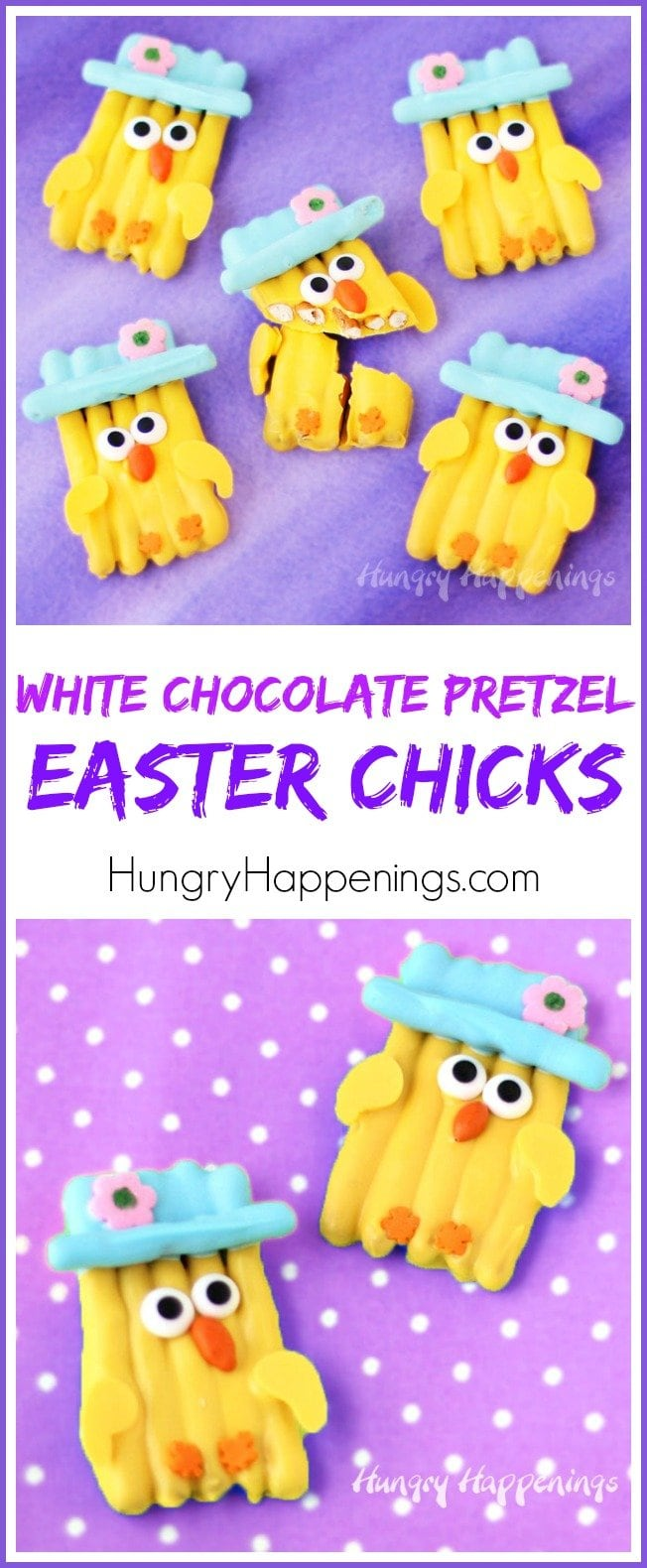 Adorably cute White Chocolate Pretzel Easter Chicks are perfect treats to add to your Easter baskets.