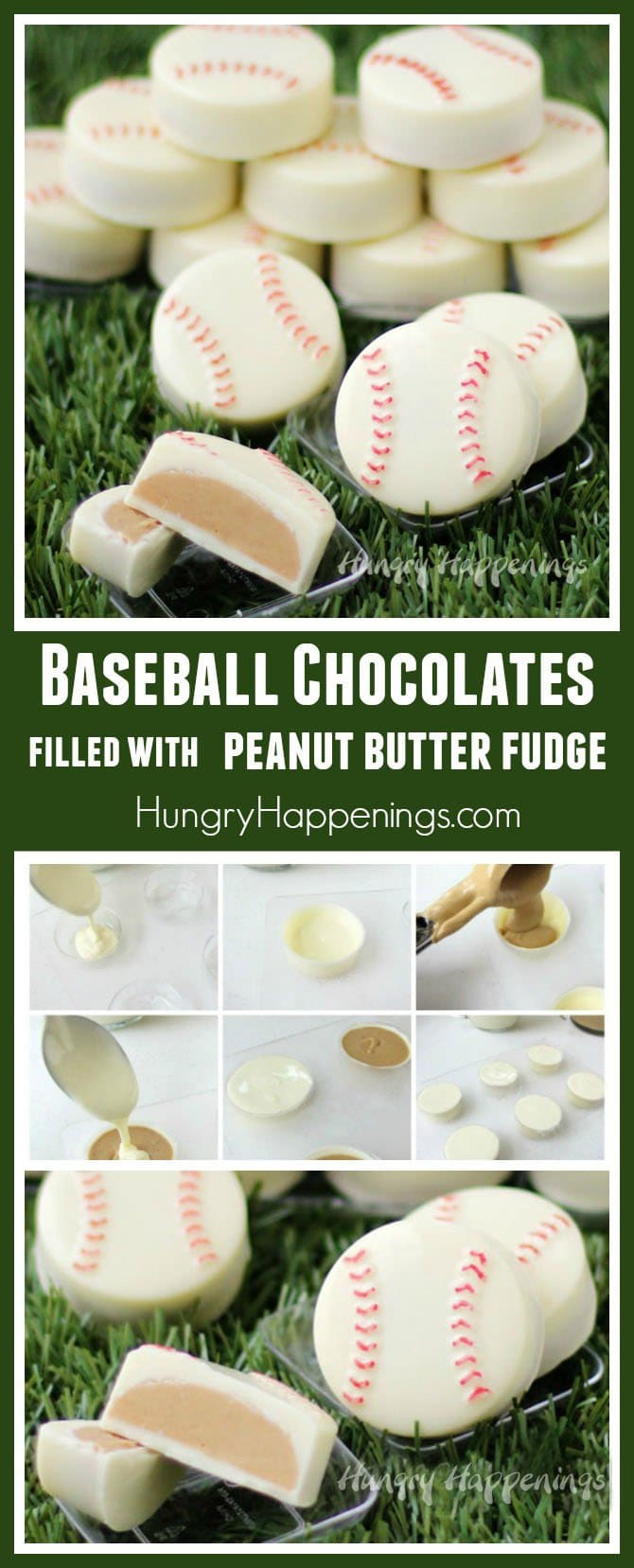 Hit a home run by serving these Baseball Chocolates filled with Peanut Butter Fudge to your favorite ball players.