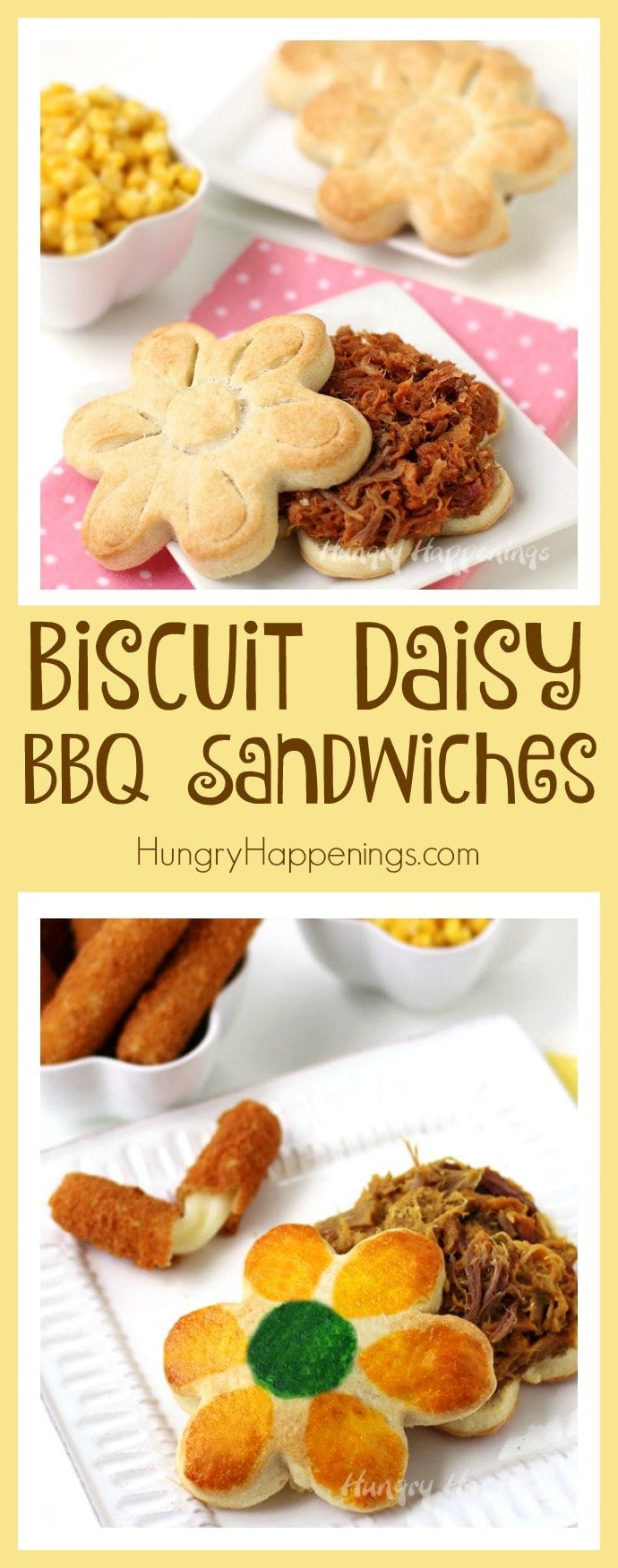 Turn homemade biscuits into these pretty Biscuit Daisy BBQ Sandwiches for a festive Mother's Day dinner or springtime meal.