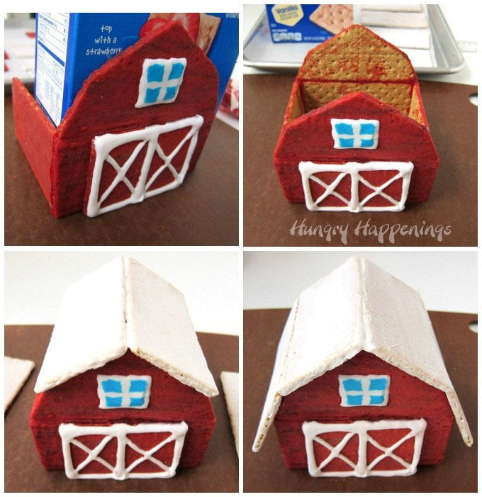 Learn how to build a graham cracker barn. See the step-by-step tutorial at Hungry Happenings