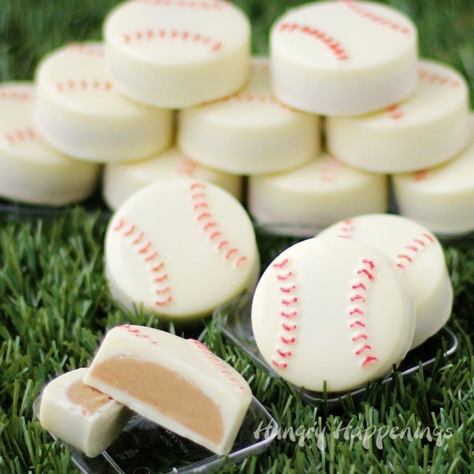 White Chocolate Baseballs filled with Peanut Butter Fudge are sweet treats to serve to your favorite ball players.