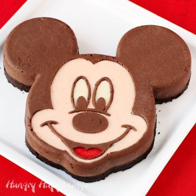 Serve this decadently chocolate cheesecake Mickey Mouse at your Disney themed party.