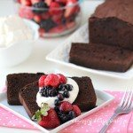 Chocolate Hazelnut Pound Cake topped with fresh vanilla whipped cream and berries makes a wonderful treat for any day.