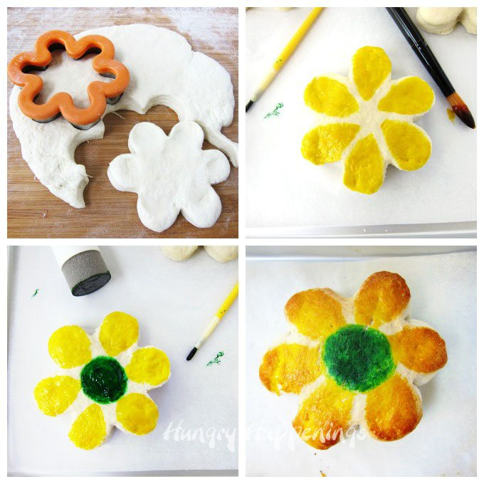 Cut biscuits using a daisy cutter then paint on food coloring.