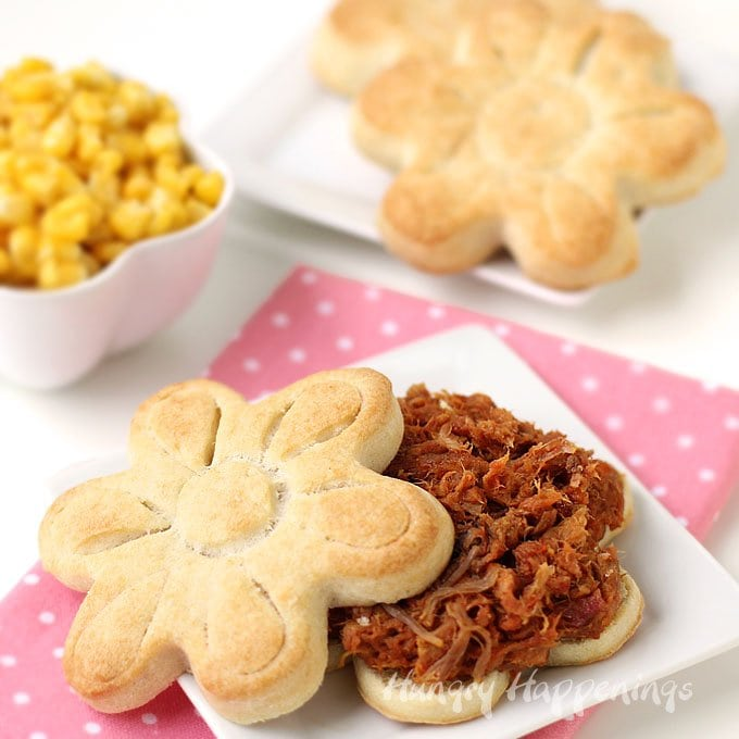 Make homemade cream biscuits into pretty daisy sandwiches topped with Smokehouse BBQ pork. for Mother's Day or any day.