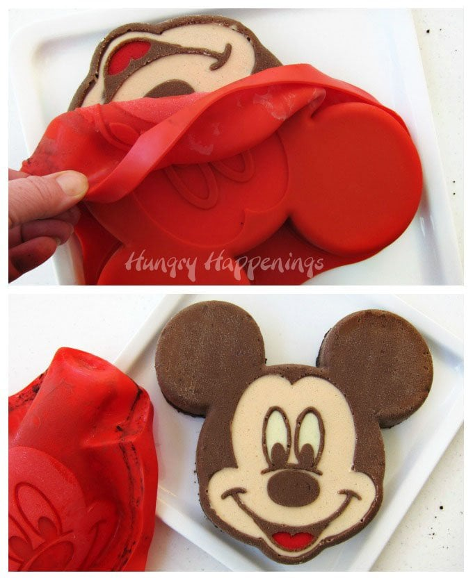 Use a silicone baking pan to create an amazing Mickey Mouse Cheesecake for your Disney themed party.