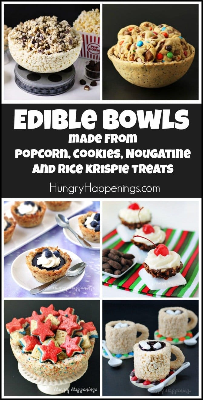 Edible bowls can be made using cookies, popcorn, nougatine, and rice krispie treats.