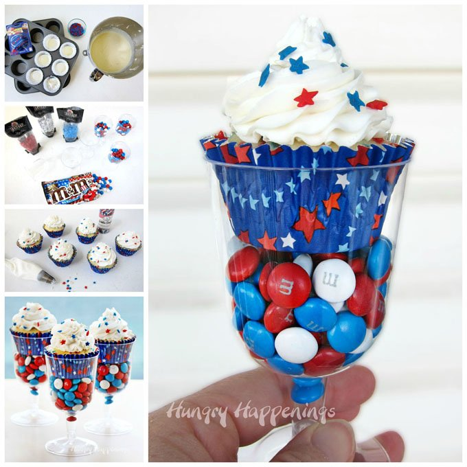 Make homemade funfetti style Red, White, and Blue Cupcakes and serve them in Wine Glassed filled with Red, White, and Blue M&M's.