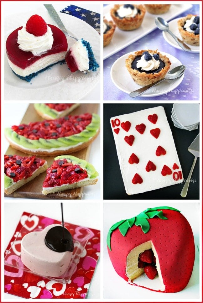 Make a festive dessert using fresh strawberries or blueberries. See all the recipes at HungryHappenings.com