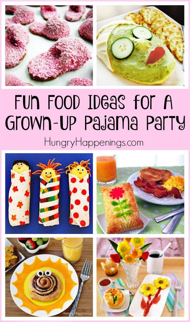 Fun food ideas for a grown up or kid's pajama party - Pink Fuzzy Slipper Cookies, Face Mask Cheese Ball, Slumber Party Snacks, Stamped Pastries, Sunshine Cinnamon Rolls, and Daisy Eggs.