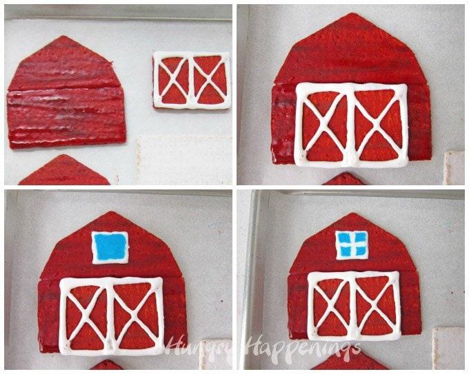 How to make a graham cracker barn.
