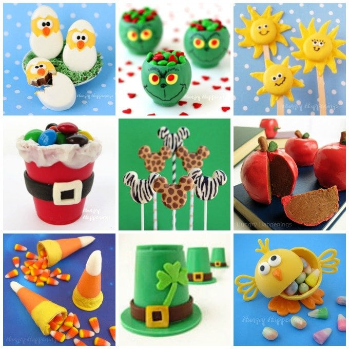 collage of images showing hand painted chocolates and candies including hatching chicks, Grinch candy cups, Santa Suite candy cups and more