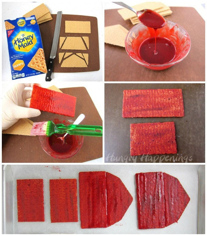 How to build a red barn out of graham crackers. See the step-by-step tutorial at HungryHappenings.com.