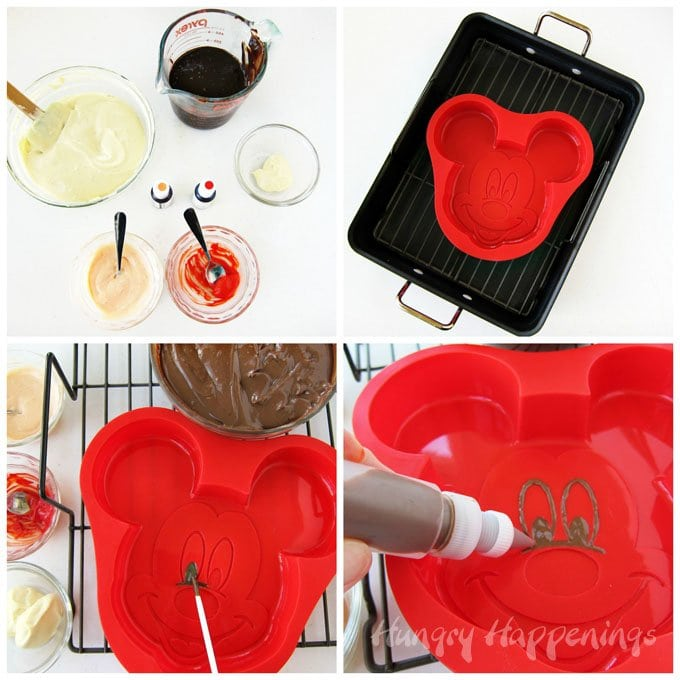 You can paint a silicone cake pan with colored cheesecake filling to create a Mickey Mouse Cheesecake. See how at HungryHappenings.com.
