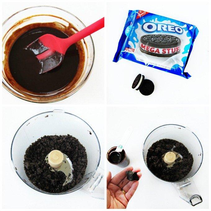 Use chocolate ganache and Mega Stuffed Oreo Cookies to make a decadent crust for a chocolate cheesecake.