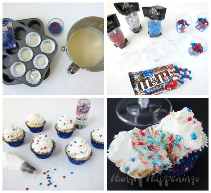 Add red, white, and blue sprinkles to white cupcakes, then frost with a big swirl of white frosting and sprinkle on some candy stars.