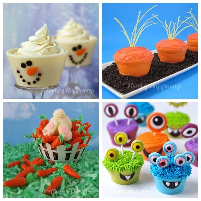 collage of images featuring modeling chocolate cupcake decorations and cupcake toppers including snowmen, monsters, carrots, bunnies, and more