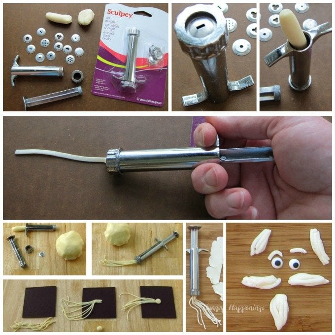 Use a Sculpey Clay Extruder to make chocolate clay decorations to add to cookies, cupcakes, and cakes.