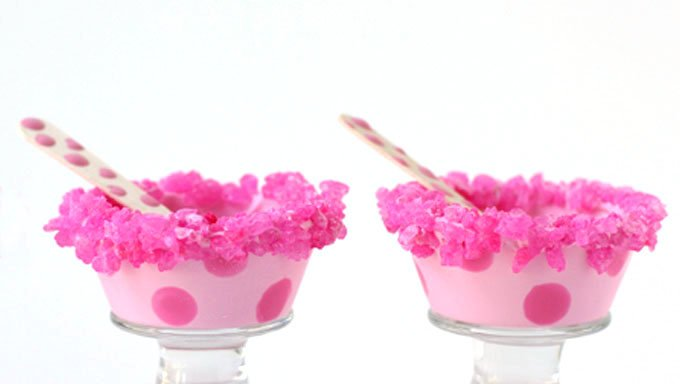 White chocolate bowls can be colored pink with pink polka dots and have pink rock candy added to the rim. They are the perfect size to use for ice cream bowls.