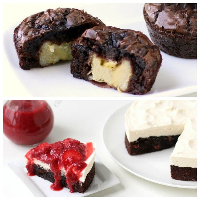 Banana Stuffed Brownie Cupcakes and Strawberry Rhubarb Brownie Cheesecake