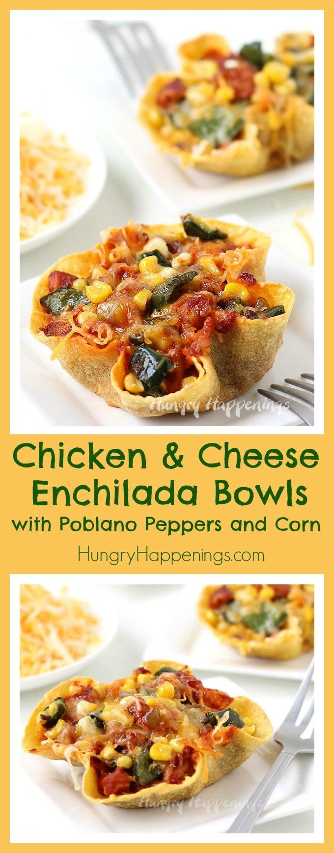 Baked crispy corn tortilla bowls filled with chicken, cheese, poblano peppers, and corn in red chili sauce. These Chicken and Cheese Enchilada Bowls make the perfect meal for a fiesta or just a weeknight dinner.