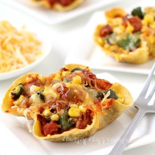 Chicken & Cheese Enchilada Bowls with Poblano Peppers and Corn
